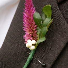 Jonathan testing a boutonniere in progress.