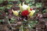Large table arrangement with celosia.