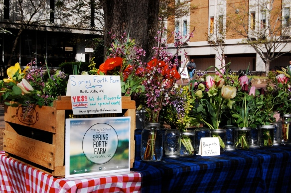 Spring Forth Farm flower stand at FLO/CDS spring 2014 market at UNC.