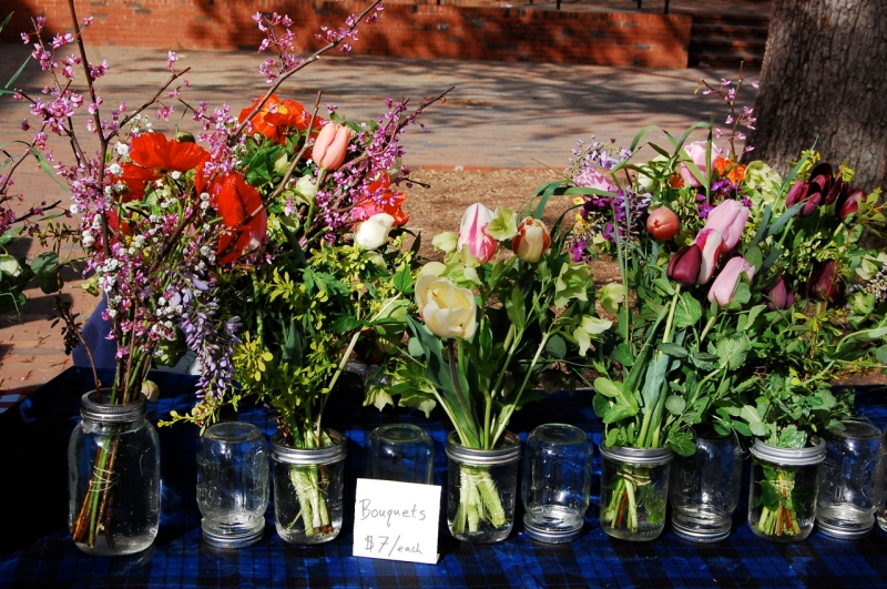 Spring Forth Farm bouquets for sale at the 2014 FLO/CDS spring market at UNC.
