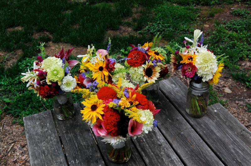 August wedding bouquets.