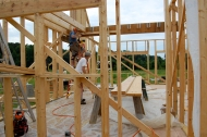 Brian and Jamie installing the floor joists