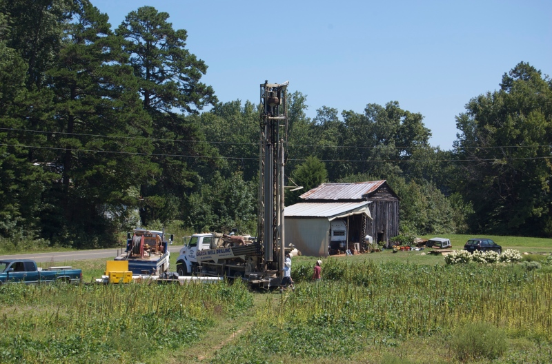Drilling the well, September 2014.