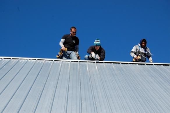 Finishing the ridge cap.