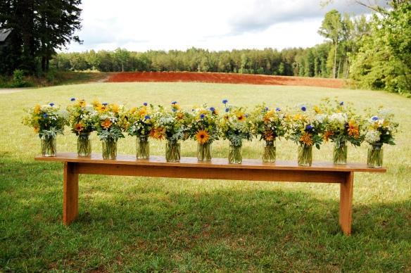Mason jar table arrangements