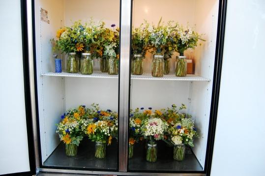 Our new flower fridge full to the brim