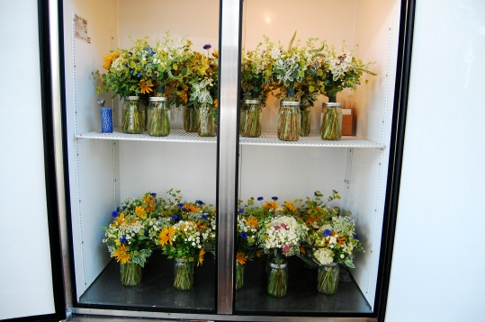 Our new flower fridge full to the brim