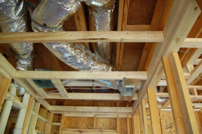 Duct work and dropped ceiling.