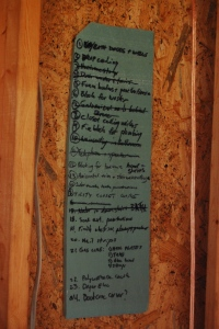 One of our numerous to-do lists.